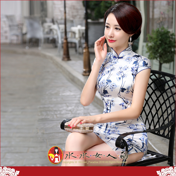 【水水女人國】~特價499元~平價旗袍風~蘭花香。復古仿絲印花包袖改良式時尚短旗袍