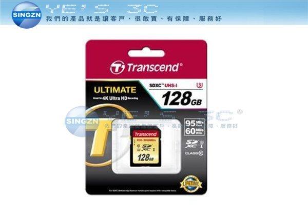 「YEs 3C」 TRANSCEND 創見 U3 633x SDHC UHS-I 128G CL10 記憶卡
