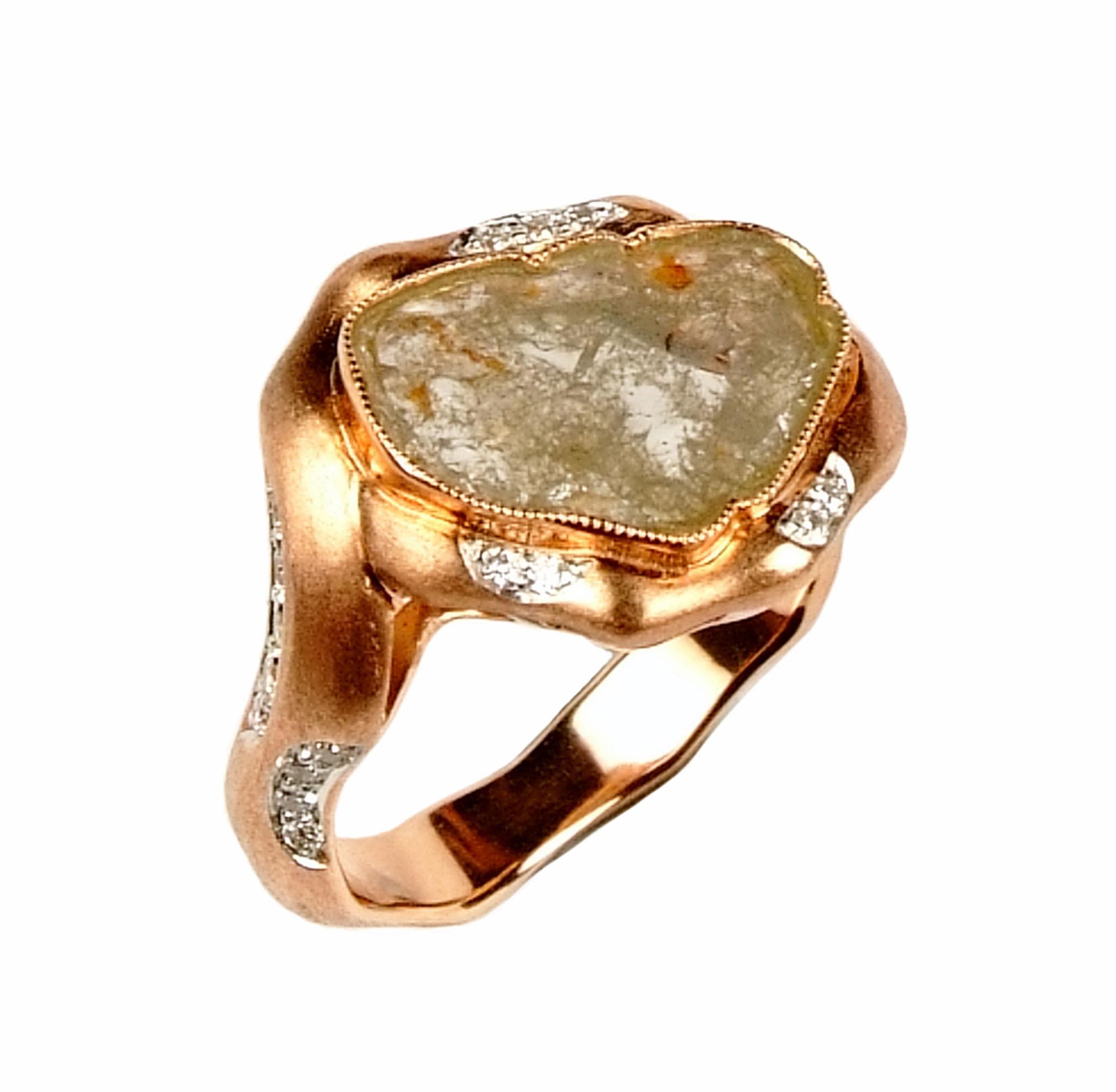 ~樂采珠寶~14k玫瑰金 秘境-天然原礦鑽石珠寶戒指.