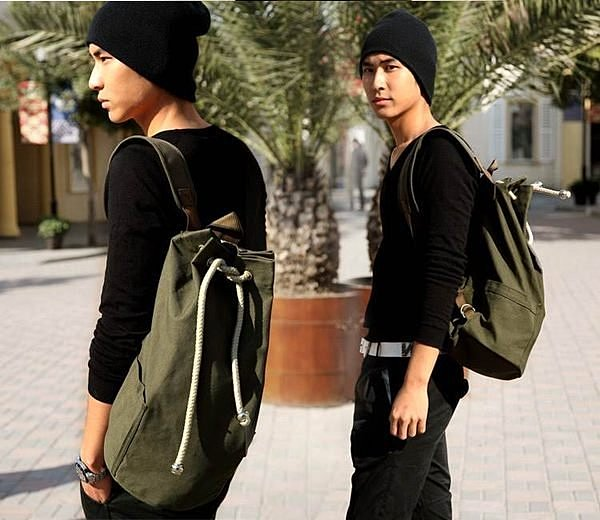 =優生活=型男必備 韓國時尚男款戶外包 休閒包 運動帆布包 後背包 水桶包