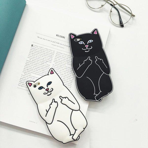 iPhone 6/6S I6 6S PLUS I5 5S 潮牌 個性 搞怪 特色 中指貓 貓咪 手機殼 保護套 矽膠套