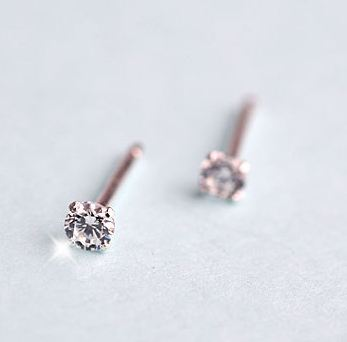 Tokyo Alice 925 純銀鋯石貼耳耳環,純銀飾品耳飾貼耳針公主風皇后首飾銀飾甜美(se0000068)