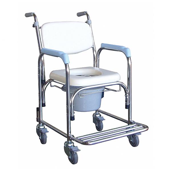 不鏽鋼洗澡椅便器椅(軟背/把手)YH125-1