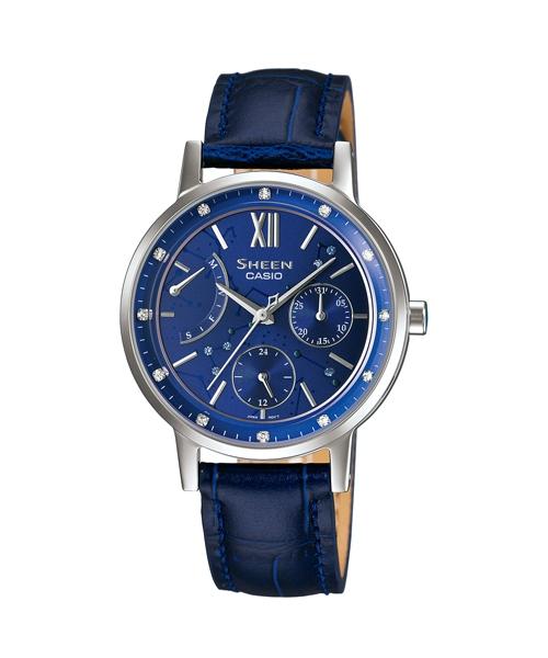 CASIO SHEEN SHE-3028L-2A璀燦星盤時尚腕錶/藍色33mm