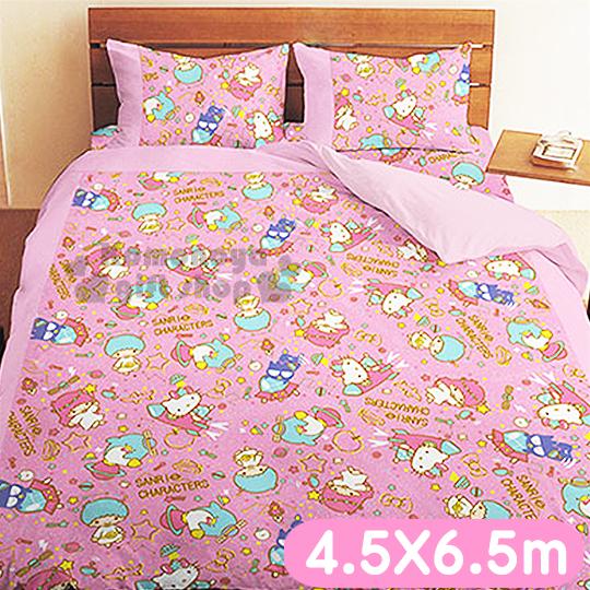 免運下殺↘999〔小禮堂〕Kitty 雙子星 單人兩用被《粉紅.4.5x6.5尺》55週年太空風系列