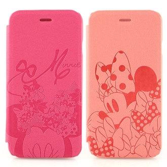 【Disney 】iPhone 6 時尚米妮蝴蝶結壓紋皮套