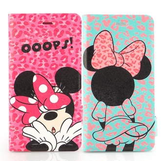 【Disney 】iPhone 6 時尚彩繪豹紋米妮可立式筆記本皮套