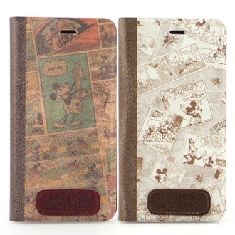 【Disney 】iPhone 6 時尚復古漫畫風隱磁側掀皮套