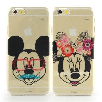 【Disney 】iPhone 6 彩繪現代風透明保護硬殼-鬍子米奇/花漾米妮