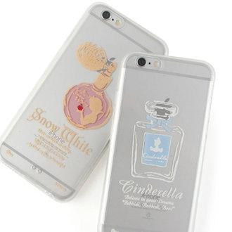 【Disney 】iPhone 6 plus 彩繪金色/珠光白透明雙料保護殼-香水瓶系列