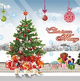 DIY無痕壁貼 牆貼- AY226(A)禮物聖誕樹
