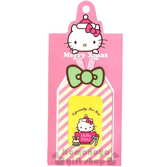 〔小禮堂〕Hello Kitty 造型聖誕小吊卡《粉黃.條紋.拐杖糖.杯子蛋糕.大臉》附信封