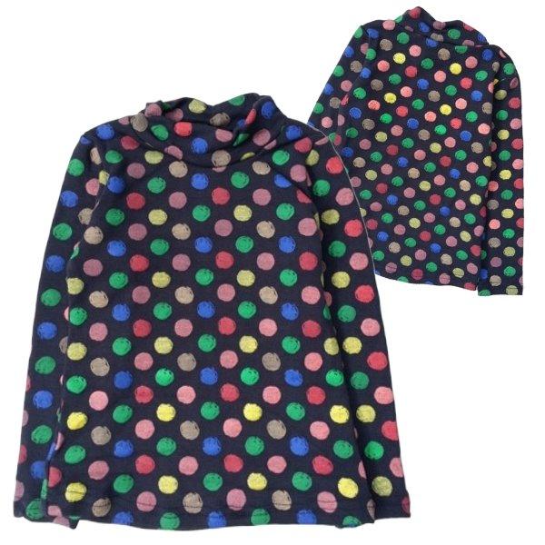【班比納精品童裝】滿版點點立領內搭衣-深藍【BN150309004】