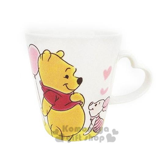 〔小禮堂〕 小熊維尼 陶瓷馬克杯《白.小豬.愛心.拿氣球》容量300ml