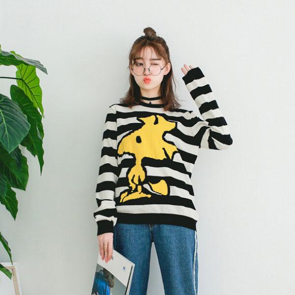 史努比 史奴比 黃色小鳥 黑白條紋 毛衣 針織 上衣 長袖 卡通 可愛 韓