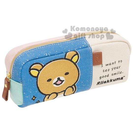 〔小禮堂〕懶懶熊 帆布拉鍊筆袋《藍白.大臉》也可當化妝包