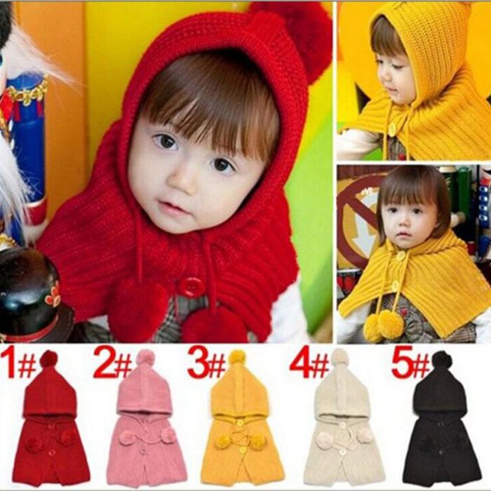 糖衣子輕鬆購【DS195】韓版時尚鈕釦球球兒童寶寶連體帽子披肩圍巾