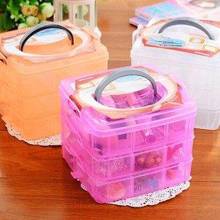 糖果三色三層 化妝用品 戒指 項鍊 收納盒 收納箱【庫奇小舖】