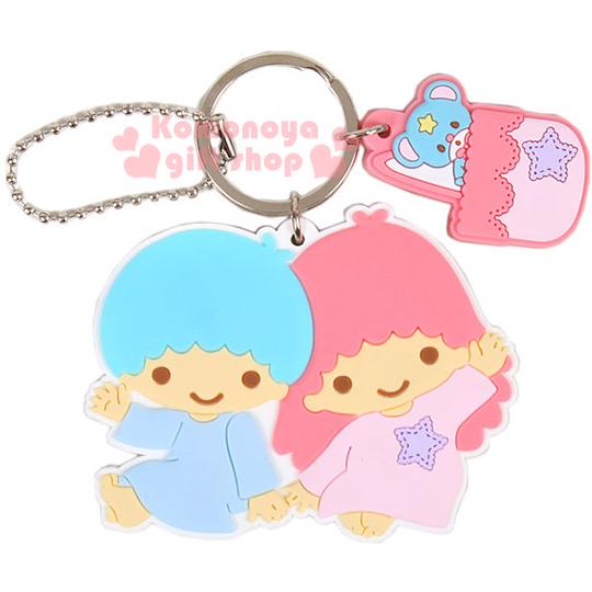 〔小禮堂〕雙子星 造型鑰匙圈《粉藍.側坐.舉單手.朋友》