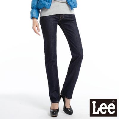 【Super Sales 褲款下殺↘1.5折】LEE 時尚剪裁Norma 407 中腰修身小直筒牛仔褲 -女款(深藍)