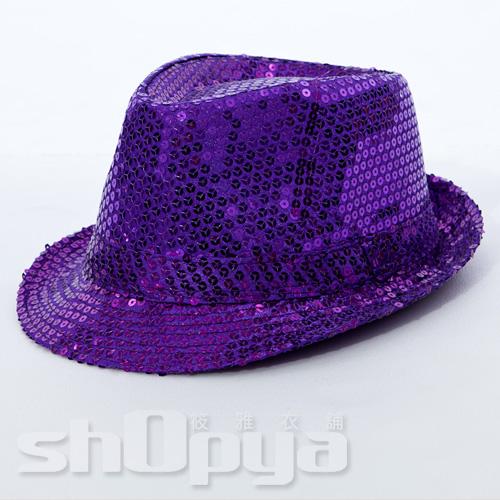 筱雅衣舖【A109】爵士風格亮片造型帽~尾牙表演萬聖節造型趴~紫色
