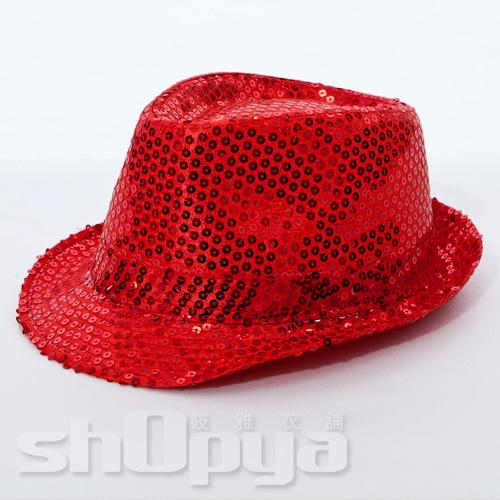 筱雅衣舖【A109】爵士風格亮片造型帽~尾牙表演萬聖節造型趴~紅色