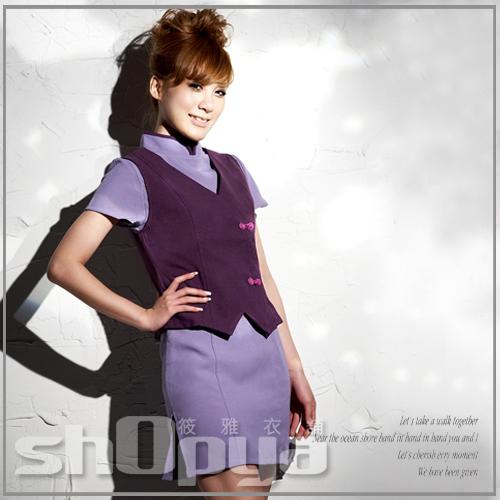 筱雅衣舖【ABT365】角色扮演服cosplay 華航樣式紫色旗袍式連身空姐制服-S-M號