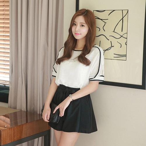 YJY韓風黑白配色棉麻衣褲裙套裝[F5380]-全尺碼