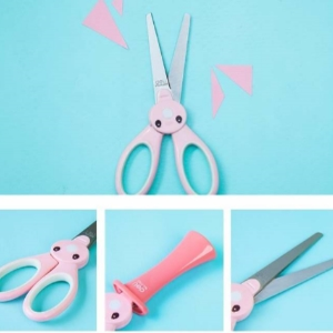 美麗大街【BF267E2E1】可愛兔子學生兒童安全護套剪刀塑料手工剪紙刀