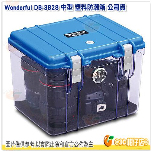 Wonderful DB-3828 中型 塑料防潮箱 附濕度表 I型除溼盒 公司貨 乾燥箱 防潮箱 防潮櫃 防潮盒 除濕盒