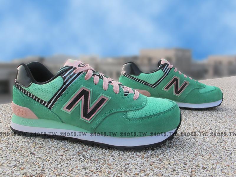 [23cm]《超值990元》Shoestw【WL574BFS】NEW BALANCE NB574 綠粉紅 黑線條 女生