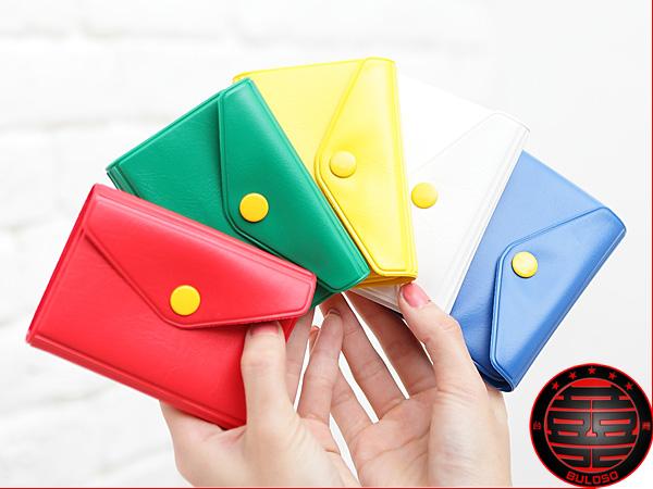 《不囉唆》4色705014按扣皮革卡片包 粉嫩色系皮夾.卡片 信用卡夾(不挑色/款)【A214018】