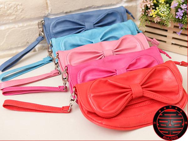《不囉唆》韓國皮革 5色蝴蝶接造型 皮包 手拿包  宴會包 筆袋 化妝包(不挑色/款)【A221856】