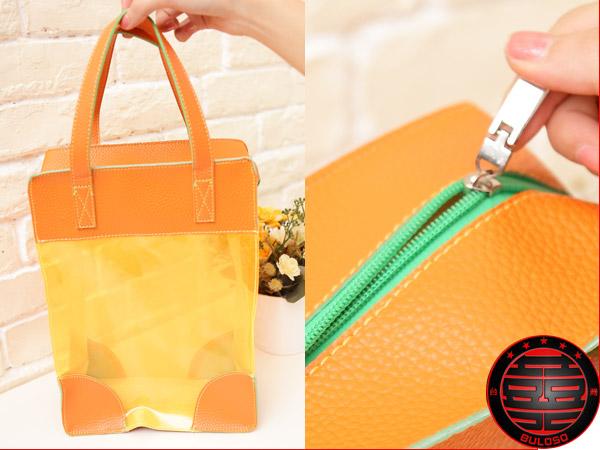 《不囉唆》 橙色透明手提袋 果凍/購物/整理/收納/手提(不挑色/款)【Y222419】