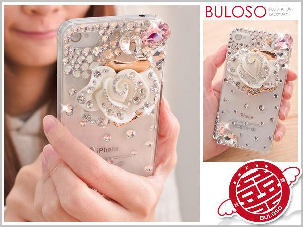 《不囉唆》【Y236362】 超閃手工奧地利水鑽 帶鑽花朵(白色) Iphone 4 4S保護殼 鑲鑽殼 三折