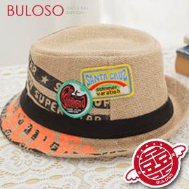 《不囉唆》【A269001】(不挑款)3色貼標印花草編帽/男女孩帽子帥氣英倫風 兒童漁夫帽/盆帽