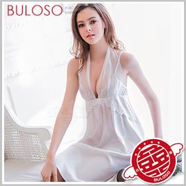 《不囉唆》大尺碼Annabery純白緞面兩穿禮服式睡衣 性感/低胸/睡袍/蕾絲/柔緞/綁帶【A303996】