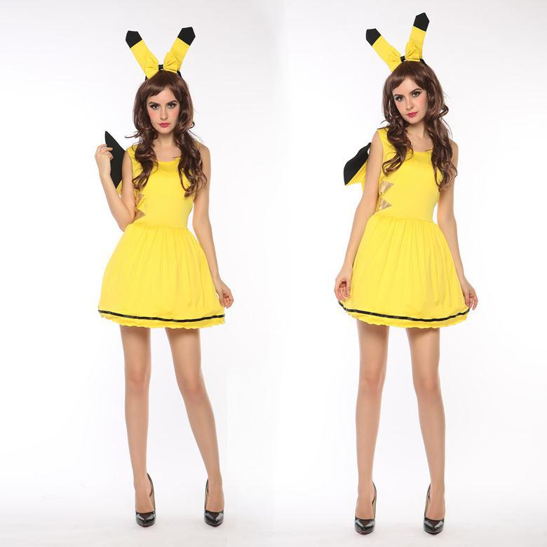 pokemon萬聖節角色扮演黃色比卡丘服裝甜美可愛動物服裝halloween