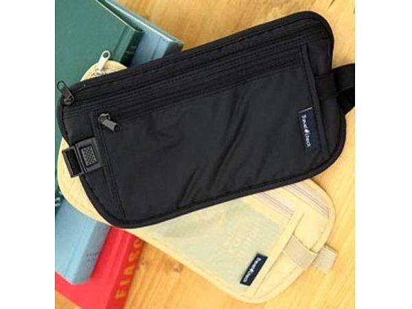 BO雜貨【SV6102】韓版 travel check 休閒旅行貼身腰包 收納包 防扒包 護照包