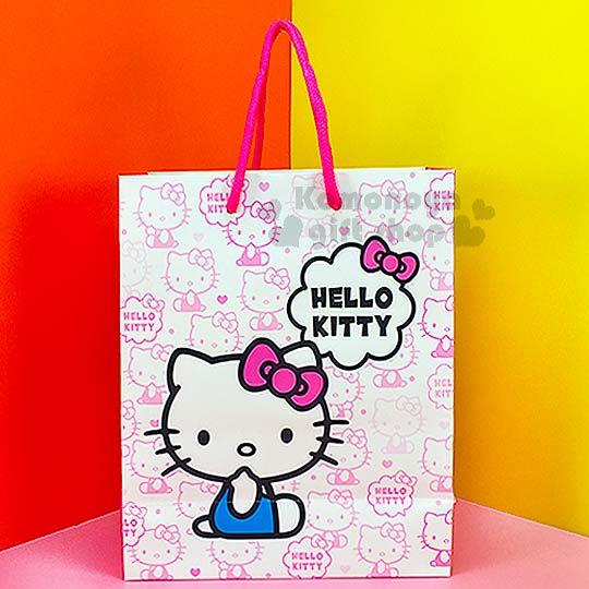 〔小禮堂〕Hello Kitty 直式提袋《白.側坐.咬手指.滿版》送禮包裝最方便