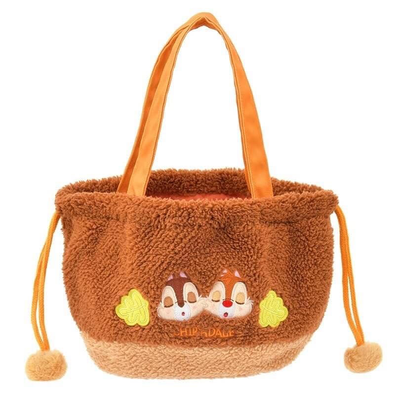 【真愛日本】16101200070   專賣店手提束扣袋-秋日派對奇蒂  迪士尼 花栗鼠 奇奇蒂蒂 松鼠 手提包 肩背包  托特