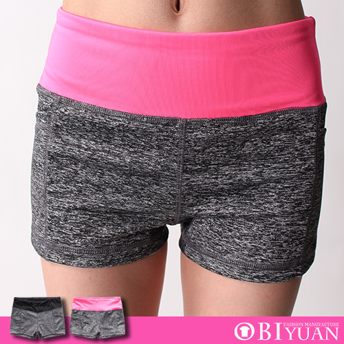 彈性短褲【YA0004】OBI YUAN韓版雙色拼接吸濕排汗運動休閒褲  共2色