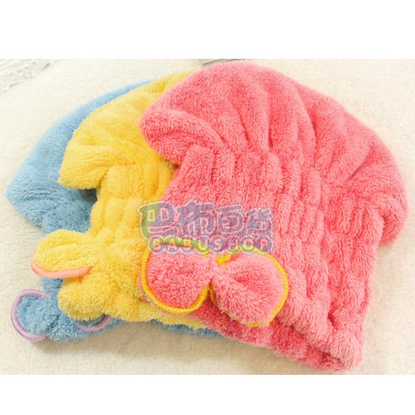 超強吸水!! 不掉毛超細纖維珊瑚絨乾髮帽 可愛蝴蝶結乾髮帽 三色隨機出貨【巴布百貨】