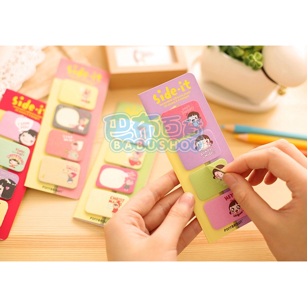 【巴布百貨】餅乾女孩 便利貼 N次貼 Memo貼 (2.5cmX3.5cm) 三款隨機出貨