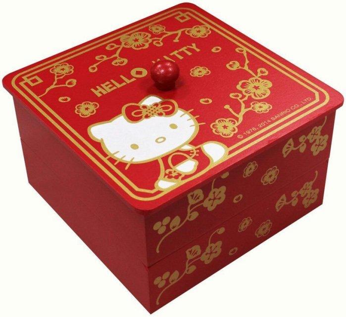 【UNIPRO】Hello Kitty 木製 方形收納盒 喜氣 雙層糖果盒 飾品收納 凱蒂貓 三麗鷗正版授權 KT