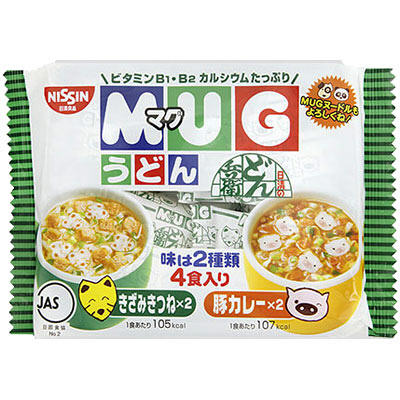 Nissin日清馬克杯麵4入-豆皮&咖哩 94g 日清食品 日清マグうどん