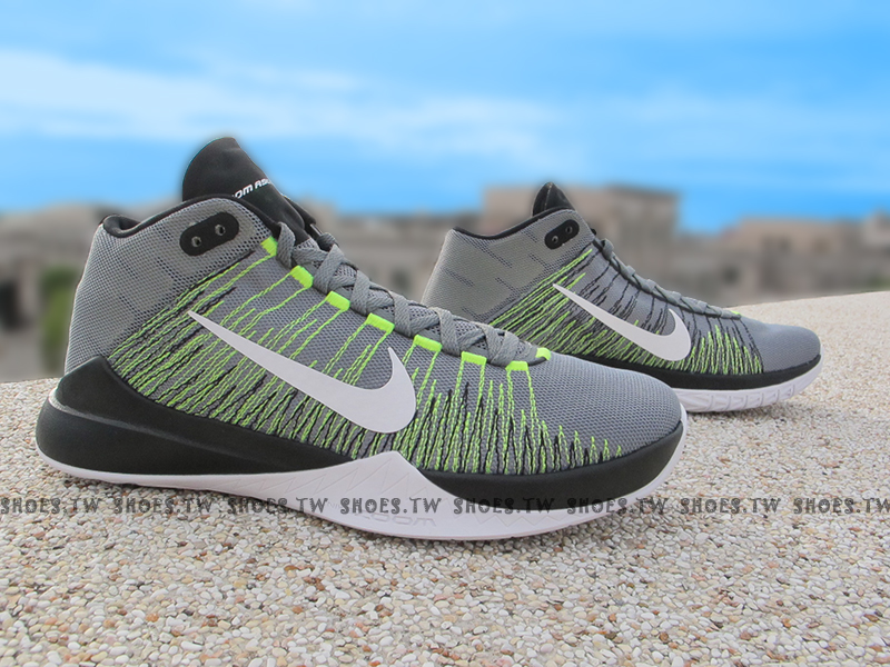 Shoestw【856575-004】NIKE ZOOM ASCENTION EP 籃球鞋 灰黑螢光綠