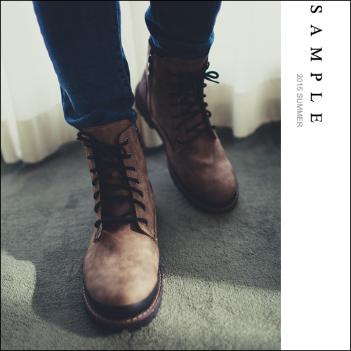 高筒靴【SA14121】韓國製 黑色滾邊設計內增高軍靴