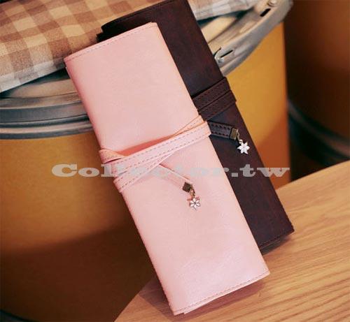 【L13101701】浪漫櫻花 複古綁帶三層素雅皮質筆袋 時尚化妝包收納袋