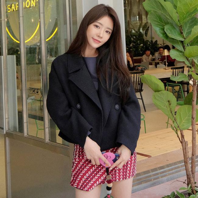 PS Mall 短款毛呢外套雙排扣氣質繭型呢大衣【T2971】